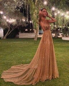 Image 1 - Lấp Lánh Sequin Hoa Hồng Vàng Dài Quần Sịp Đùi Thông Hơi 2020 Sexy Chân Váy Xòe Caro Hở Lưng Tiếng Ả Rập Váy Dạ Hội Nữ Dự Tiệc Trang Trọng Đầm