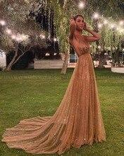 Vestido de fiesta largo árabe con lentejuelas brillantes, rosa dorado, tirantes finos, Espalda descubierta, 2020