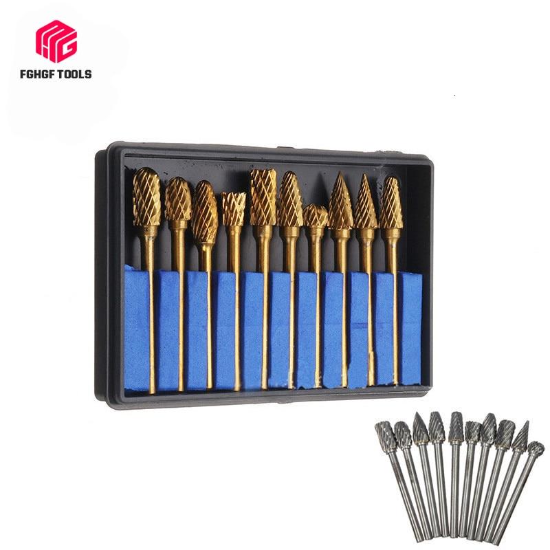FGHGF 10pcs 3x6mm Tungsten Carbide Drill Engraving Bits Set For Metal Burr Tungstenio CNC Dremel Mini Cone Milling Cutter