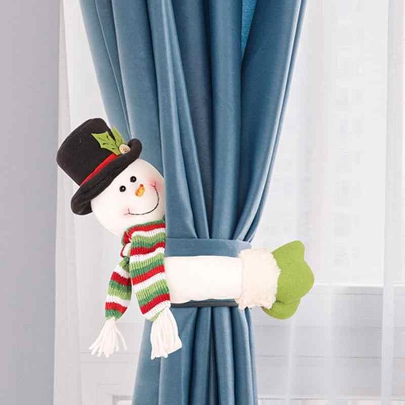 คริสต์มาสผ้าม่านหัวเข็มขัด Santa Claus Snowman Elk Shaped ผู้ถือ Shopwindow ในครัวเรือน Dressing อุปกรณ์เสริม