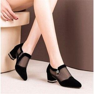 Image 3 - Szpilki Mesh oddychające Pomps Zip Pointed Toe grube obcasy moda damska sukienka buty eleganckie obuwie