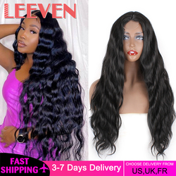Leeven 28inch Synthetic Lace Front Wig Long Body Wave Wigs For Woman Black Natural Wave Wigs Cosplay Lolita Hair Curly Wig