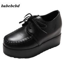 Женские туфли в стиле Харадзюку черно белые кожаные на платформе