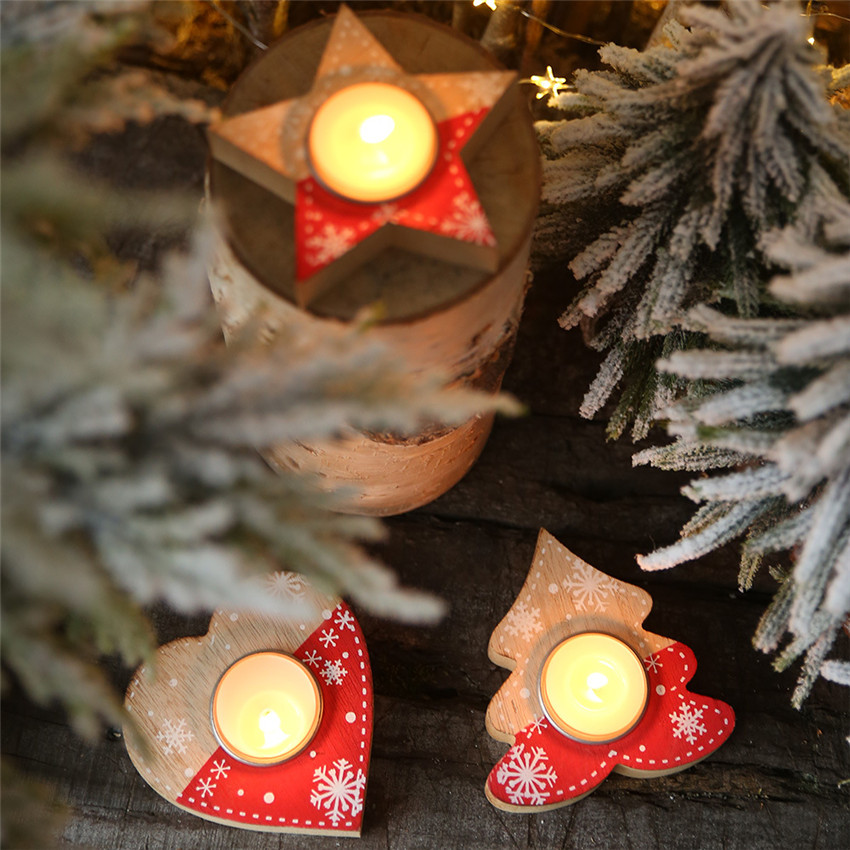 Christmas decoration Wooden heart/star Candlestick Christmas Ornament New Year Candle Holder DIY Xmas Painted Wood Candlestick