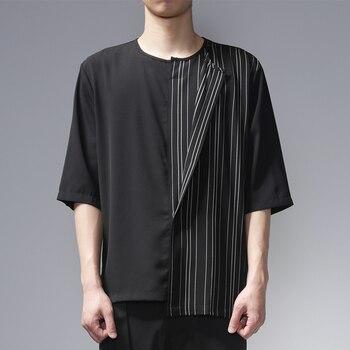2020! Diablo vintage stripes asymmetrical patchwork original design with five-point sleeves loose short-sleeved T-shirt