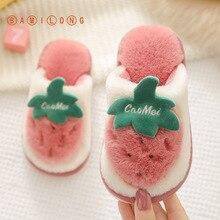 Fur Slipper Home-Shoes Strawberry Girls Kids Children BAMILONG Warm Autumn Cute Cartoon