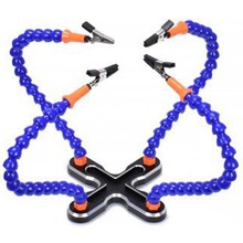 Diy Soldering Third Hand 4Pc Flexible Arms Welding Helping Stand Repair Holder Tool Multifunctional Metal Base Welding Soldering(China)