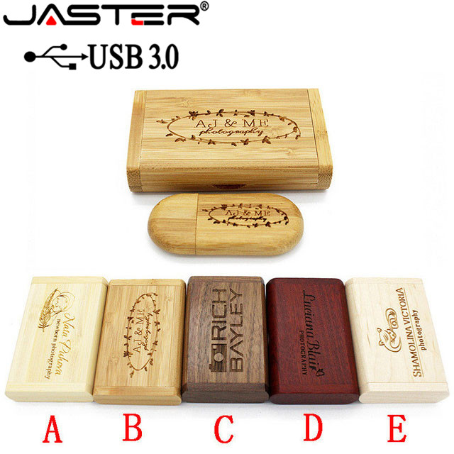 JASTER USB 3.0 Wooden Usb+Box Pen Drive 4GB 16GB 32GB 64GB Usb Flash Drive Pendrive Memory Stick 1PCS Free Custom Logo