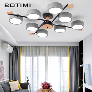 BOTIMI Indoor LED Chandelier For Master Bedroom Modern Wooden Study Room Lustres Ceiling Mounted Living Room Chandeliers 1