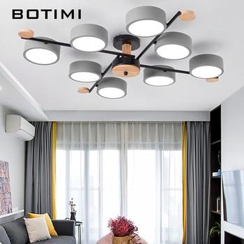 BOTIMI Indoor LED Chandelier For Master Bedroom Modern Wooden Study Room Lustres Ceiling Mounted Living Room Chandeliers 1