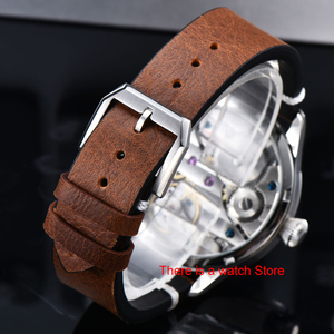 Image 4 - Corgeut 44mm Horloge Mannen 17 Juwelen Hand Kronkelende 6497 Beweging Lichtgevende Waterdichte Mechanische Horloges Lederen Band