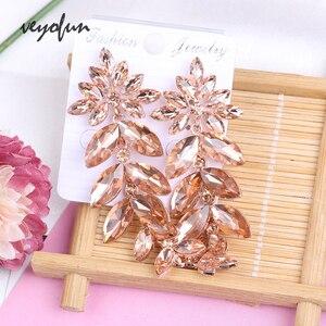 Женские Висячие серьги Veyofun, элегантные длинные серьги с кристаллами и цепочкой, Brinco