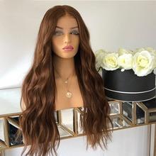 20 дюймов Большой Кепки Размеры объемная волна предварительно Реми Рыжий коричневый 360 Синтетические волосы на кружеве парик с волосами мла...