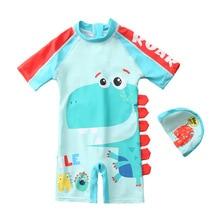 Children's swimsuit boy's one piece swimwear Korean style dinosaur long sleeve beach suit sunscreen bathing suit hat YZN20001