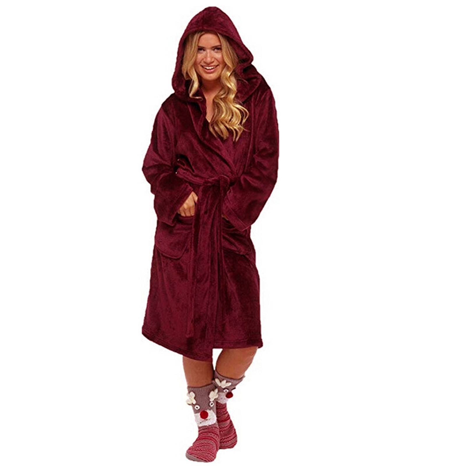 Winter Women Nightgown Plush Lengthened Shawl Bathrobe Home Clothes Long Sleeved Robe Loose Christmas Hooded Nightdress Pijamas