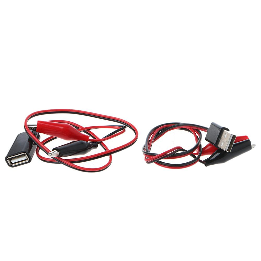Voltmeter Connector Clamp USB Male 1-Pair Power-Supply-Adapter Alligator-Test-Clips Cable-Wire-50cm-Tester