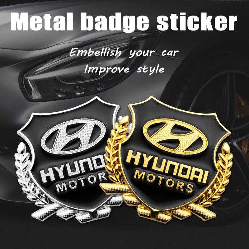 Металлические автомобильные наклейки, 2 шт., эмблема, Кузов для стайлинга, полная наклейка, детали для Hyundai Creta, акцентная Соната IONIQ i30 Solaris Getz ...