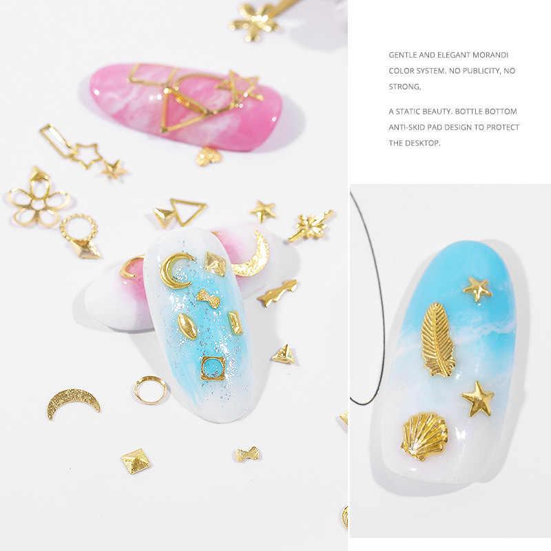ファッション 3Dムーンスターリベット爪爪のためのホログラフィックディップ粉末研磨クローム顔料diyのネイルアートの装飾 1 個