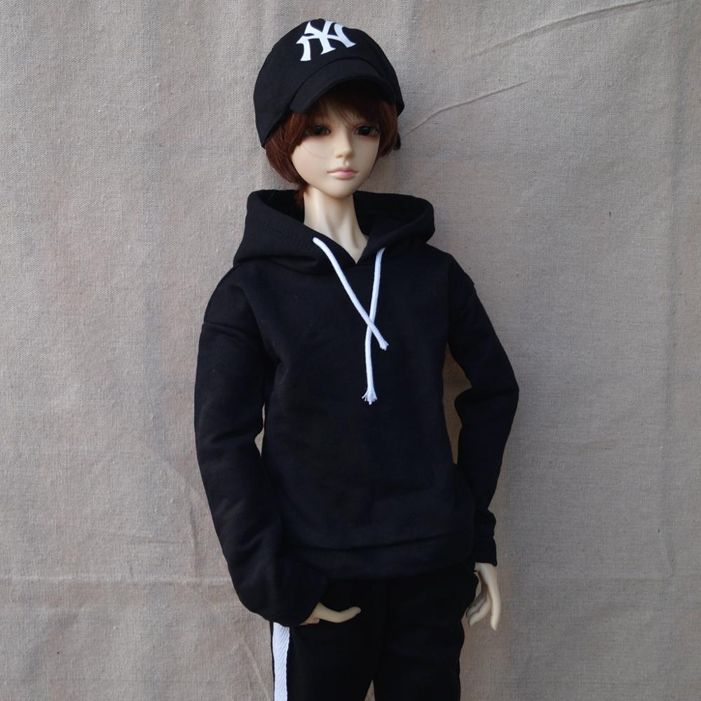 BJD Black Hoody Outfits Top Sports Clothing Casual For 1/4 1/3 SD17 70cm 17