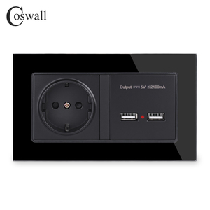 Image 3 - COSWALL Steckdose EU Standard Steckdose Mit Dual USB Smart Induktion Ladung Port Für Mobile 2,1 EINE Kristall Glas panel
