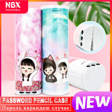 NBX Password Pencil Case 3-Digit Combination Key Resettable Push-Button Lock Code Multifunctional Pen Holder School Stationery