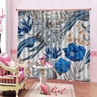European style Curtain Blackout Printed Green Big Leaves Flower Curtains For living room bedroom home drapes