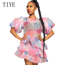 TIYE Tie-dyed Perspective Mesh Personalized Cake Dress O-neck Elegant Sexy See Through Fairy Mini Summer Vestidos Mujer