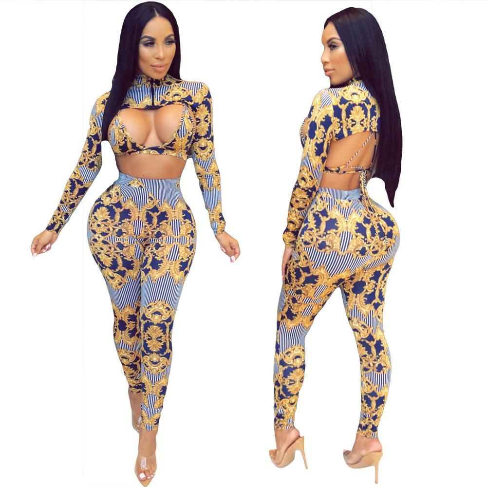 3 Piece Set Women Set Clothes Long Sleeve Printed Crop Top + Bra + Pants Sexy Three Piece Set Night Club Party Outfits DT1113