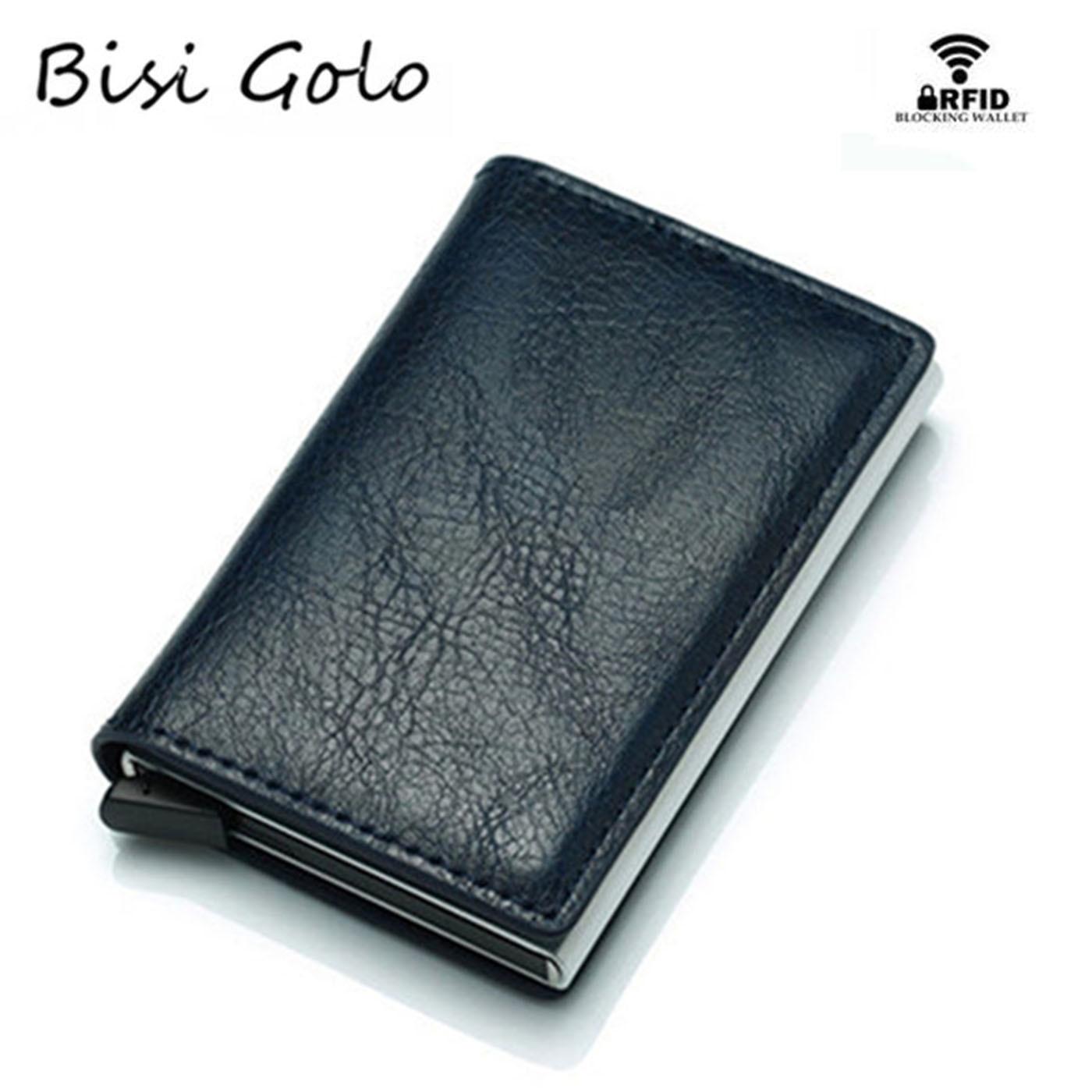 BISI GORO Men Wallet Blocking Rfid PU Leather Vintage 2020 Credit Card Holder Unisex Antitheft Security Aluminum Metal Purse