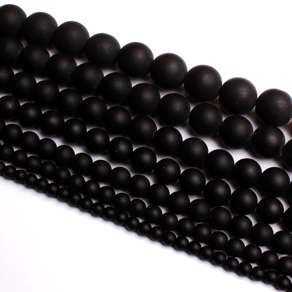 High Quality Round Natural Agates Frosted Black Bracelet Necklace Jewelry Gems Beads 15Inch 4, 6, 8, 10, 12, 14, 16, 18, 20mm