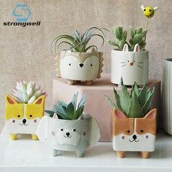 Strongwell Nordic Cute Animal ceramiczna doniczka na kwiaty jeż Bunny Puppy sypialnia mała doniczka Mini Gardenin prezent do dekoracji domu