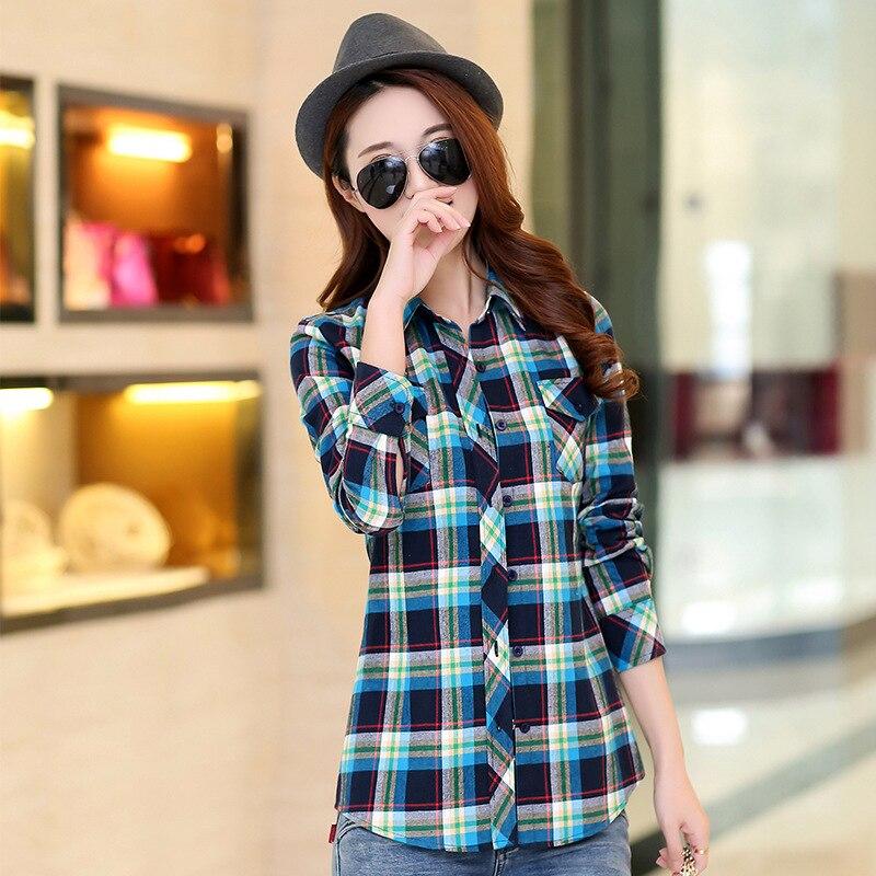 Autumn Spring Blouses Fashion Turn Down Collar Cotton Tops Women's Plaid Shirt Office Work Slim Long-Sleeve Shirts Blusas Mujer 6