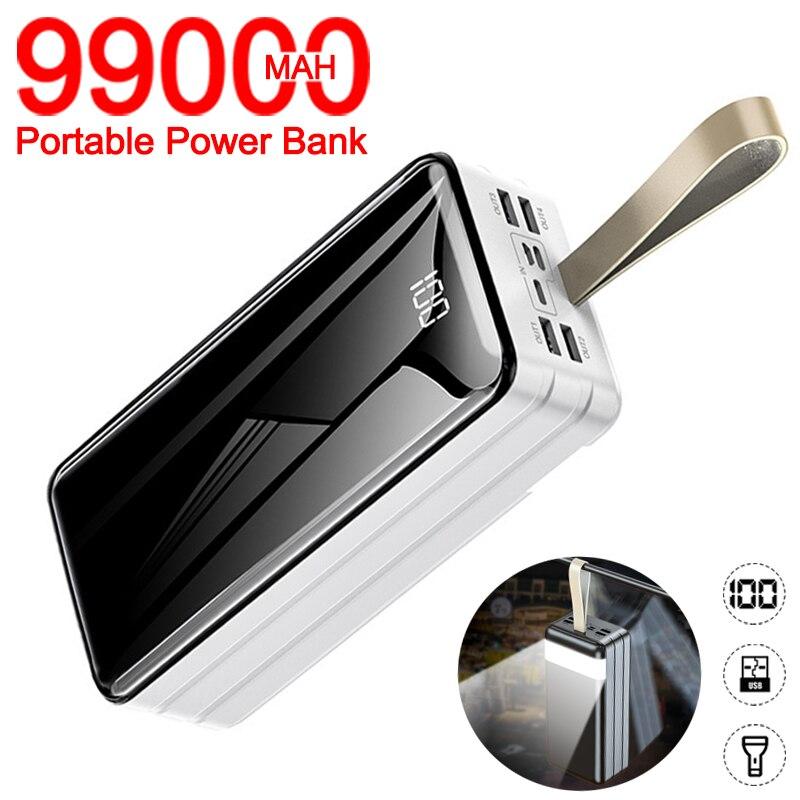 Chargeur externe portatif de batterie daffichage numérique de LED de banque de puissance de capacité élevée de 99000mah pour liphone de Xiaomi Samsung