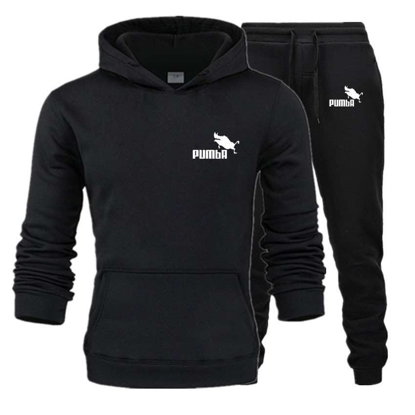 Shang jia mens hoodies + pants 가을 겨울 남성 pumba 후드 티셔츠 양털 까마귀 바지 2 피스 세트 정장 streetwear hoody