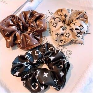 Headwear Ponytail-Holder Hair-Accessories Scrunchie Satin-Hair Elastic Girls Designer