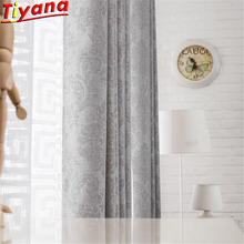 European Embossing Grey Thicken Curtain Cloth for Living Room Geometric White Sheer Tulle Grey Blackout Window Drapes WH133#30