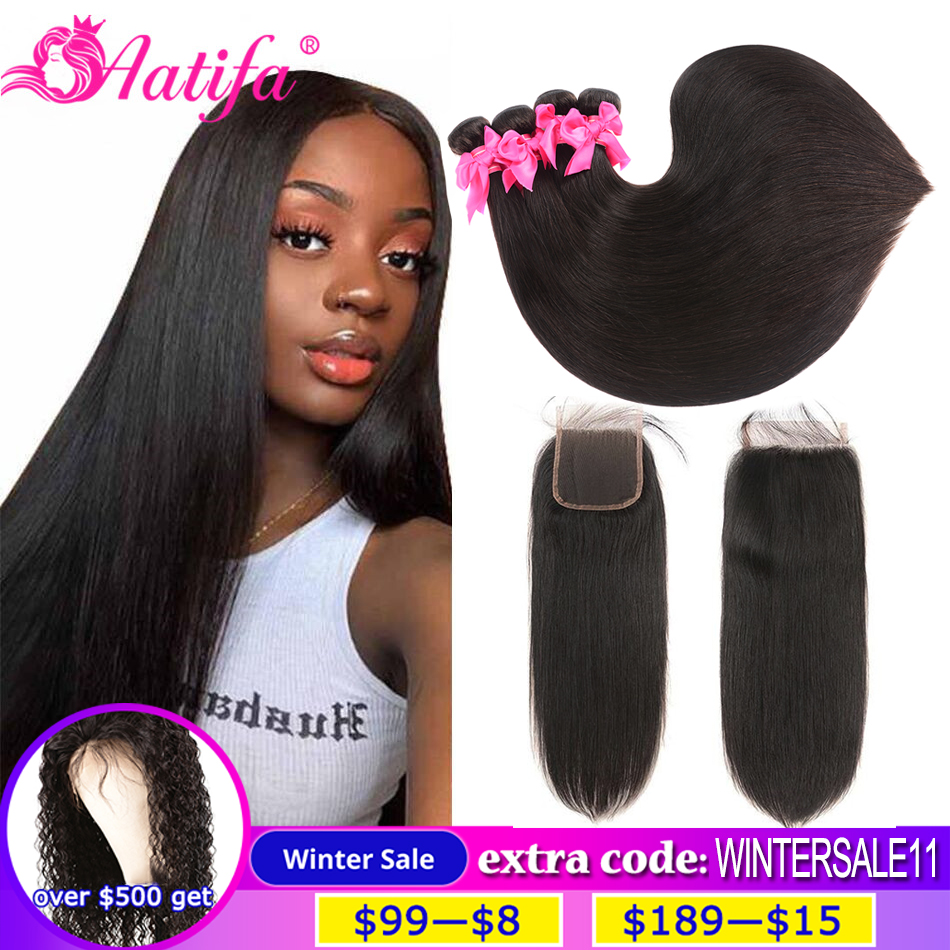 Brazilian Straight Hair Bundles With Closure Human Hair Bundles With Closure Remy Bundles With Closure Aatifa Hair Extension