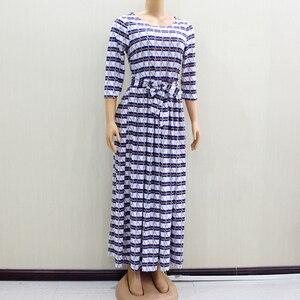 Image 3 - 2020 ファッションデザイン新着アフリカ Dashiki スリムでエレガントなカジュアルブルーレディースロングパーティーファッション女性ドレス