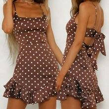 Sem costas bownot vestidos femininos plissado polka dot print sem mangas mini vestido de praia de verão vestidos longos de verao