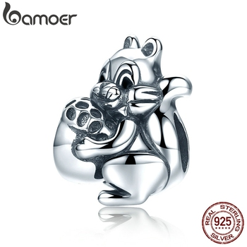 BAMOER Genuine 925 Sterling Silver Naughty Squirrel & Pine Nut Animal Charm Beads fit Women Charm Bracelet Jewelry Gift SCC197
