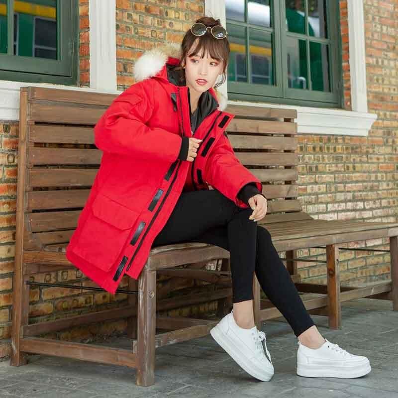 Canada Winter Down Parka Coat Cotton Ladies, Parka Women Jacket Femme Mujer Outwear, -35 Warm Raccoon Fur Collar Hooded Coat