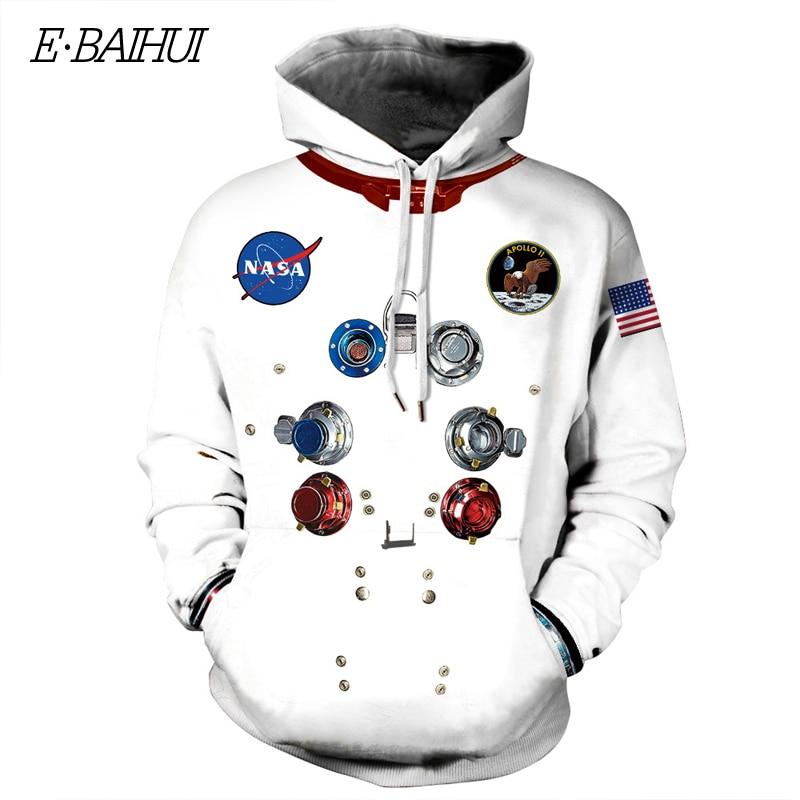 E-BAIHUI Women Man Winter Streetwear Hoodies Tops 3D Astronaut Space Print Suit Pullover Sweatshirt Outwear Clothes Warm Hoodies