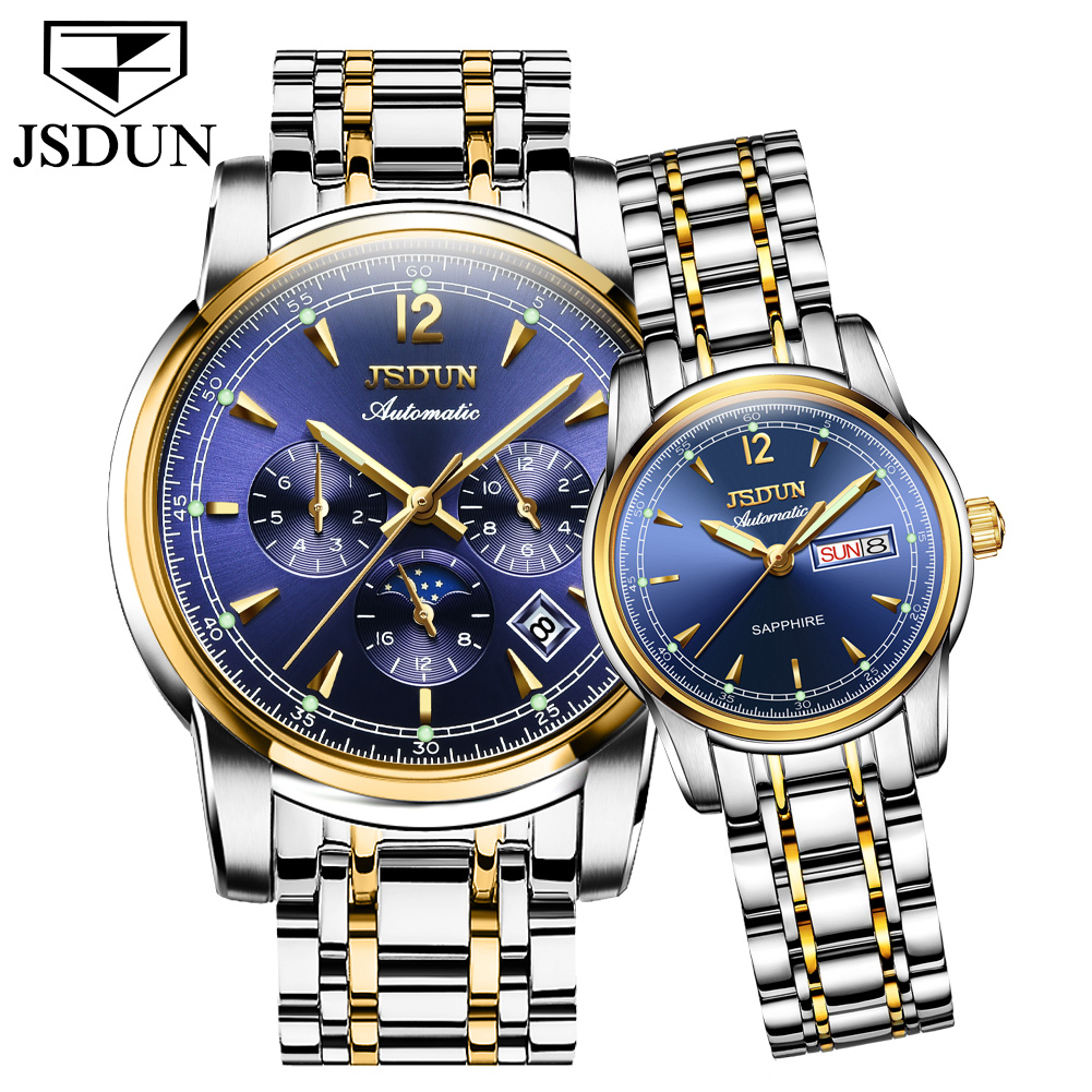 Fashion Relogios Automatic Mechanical Moon Phase Waterproof Luminous Date Day Couple Business Women Men Wrist Watches Masculinos