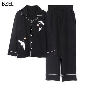 Image 3 - BZEL 2020 Freizeit Baumwolle Nachtwäsche Schlafanzug Frauen Kleidung Langarm Tops Set Damen Pijama Sets Nacht Anzug Hause Tragen Große größe