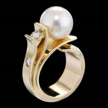 Luxury White Pearl Rings Fashion Yellow Gold  Rhinestone CZ Wedding for Women Jewelry Anillos Mujer 2019 New Z4P356