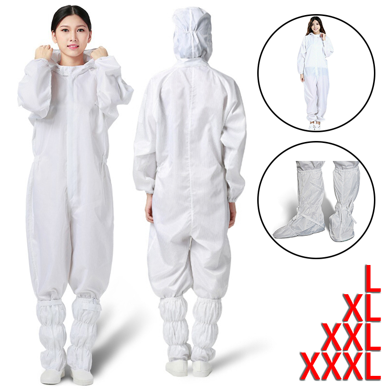 Reusable Protective Coverall Safety Clothing Anti-static Protective Overall Suit Jumpsuit Viruses Protection Suit / Shoe Covers