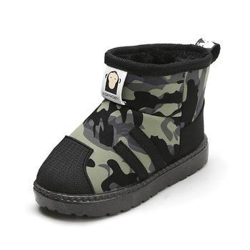 Children Snow Boots Winter Boys Kids Boots Plush Warm Cotton Shoes Baby Boys Girls Camouflage Antiskid Soft Bottom Short Boots tanie i dobre opinie Cotton Fabric RUBBER 19-24 M 2-3Y 4-6Y 7-9Y 10-12Y 13-14Y Zima Moda buty Szycia Mieszkanie z Pluszowe Unisex Połowy łydki