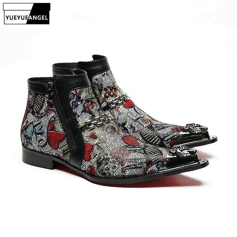 2020 New Designer Metal Trend Cool Zipper Hand Painted Priting Mens Ankle Boots Male Autumn Pointed Toe High Top Shoes Footwear