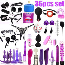 36pcs set Porno Sex Handcuffs Nipple Clamps Whip Mouth Gag Sex Mask Anal Plug Bondage Set Sexy Lingerie Toys for Adults()