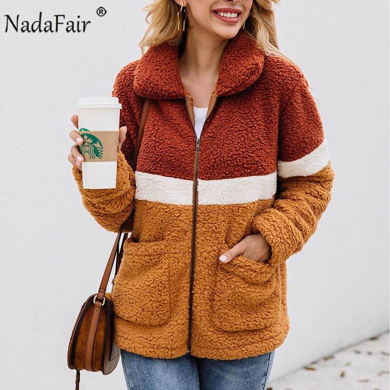 Nadafair Casual Teddy Coat Women 2019 Autumn Winter Patchwork Fleece Faux Fur Coat Female Thick Warm Plush Jacket Coat